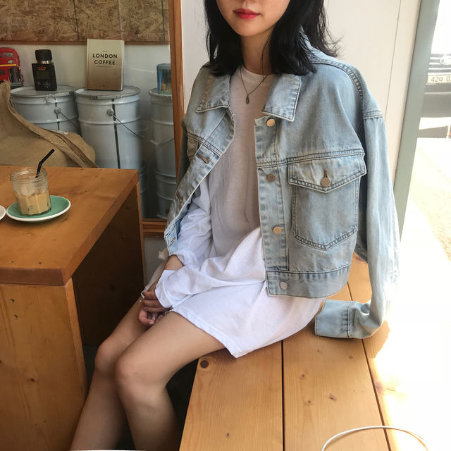 Spot Korea  Chic Classic Washed Retro Loose Denim Short Coat