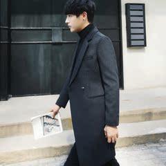 韩版修身中长款毛呢大衣男冬羊毛呢子大衣外套DY1707-P155控价195