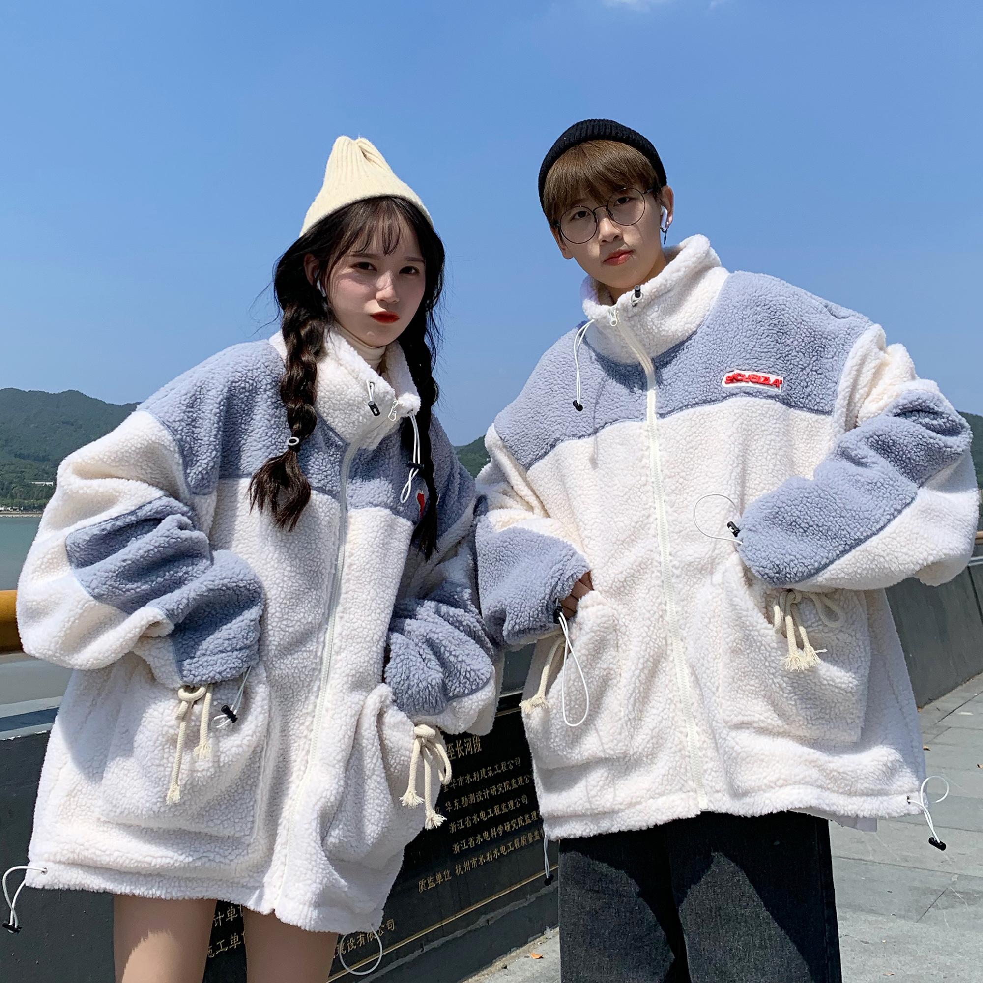 C316 W9016 P115冬装加棉加厚棉衣情侣装男女款港风外套羊羔毛