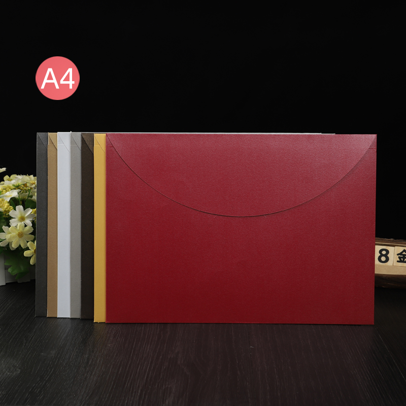 Large envelope customized high-end pearlescent paper gilt logo A4 Chinese and Western style document bag large file bag customized printing