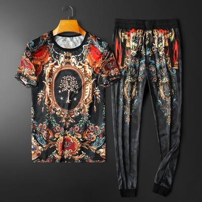 2021夏季新款个性印花短袖T恤套装男 钱塘3029-3001-P110  平铺