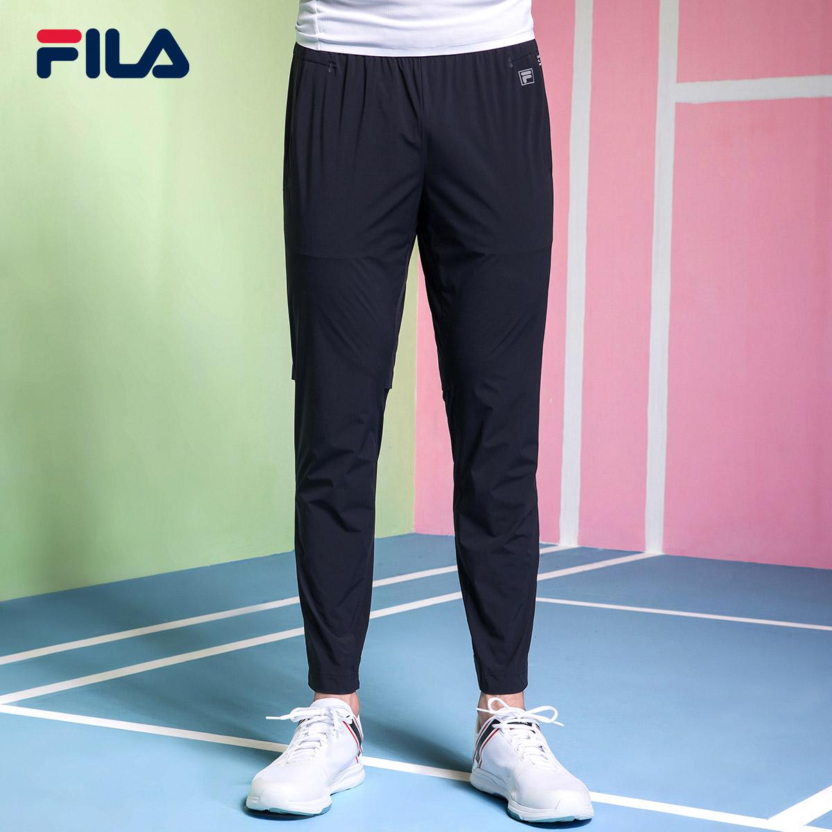 FILA斐乐男2018夏季新款耐磨透气梭织长裤休闲裤|F11M824801F