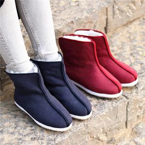千层底棉鞋女冬季加绒羊毛保暖布底古装短靴苎麻手工复古禅意布鞋
