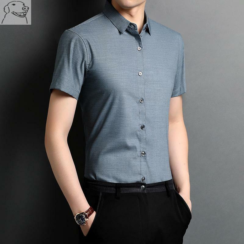 冰丝衬衫衣男短袖真丝绸缎土衬衣高级感衫衬春夏季商务高端男装薄