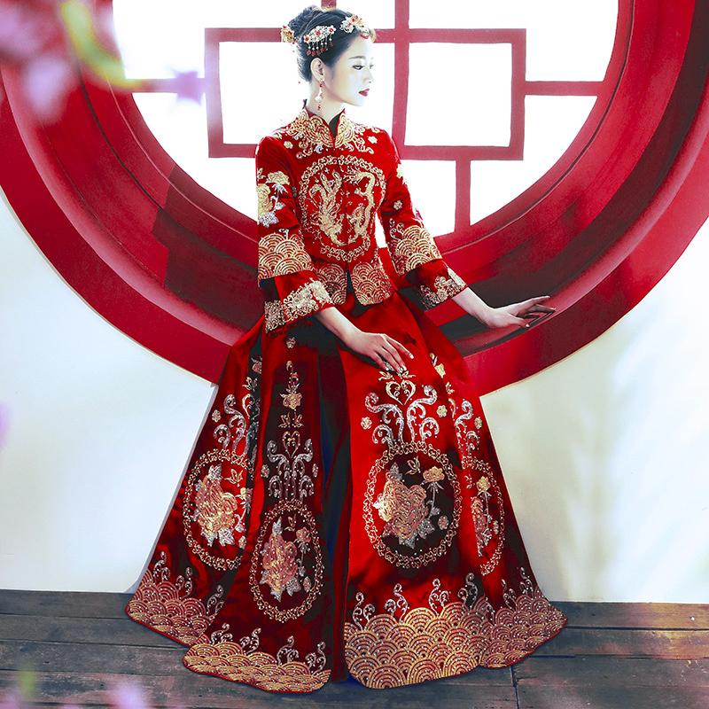秀禾服新娘2020新款中式婚纱礼服凤冠霞帔结婚古装敬酒嫁衣秀和服