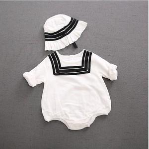 新生儿新款春秋季连体衣婴儿纯棉长袖三角哈衣+帽子宝宝爬服0-2岁