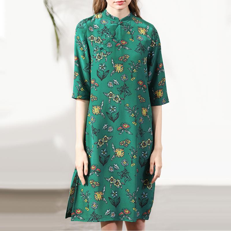 中式手工盘扣中袖花朵印花下摆开叉真丝旗袍裙女立领桑蚕丝连衣裙