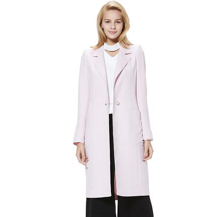 【汤米诺庄园】TimeRoaD18春淑女纽扣纯色中长款西装式风衣外套女