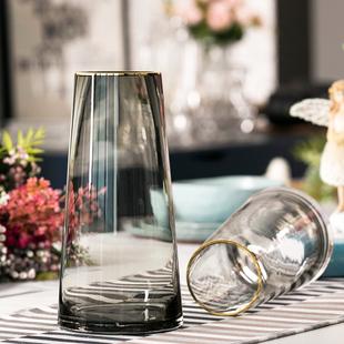 轻奢·描金 北欧T型简约玻璃花瓶 客厅花器家居装饰插花花瓶摆设