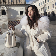 European Down Dress Female Mid-long Winter Dress 2018 New East Gate Big Hair Neckle Fit and Thicker Coat Tide