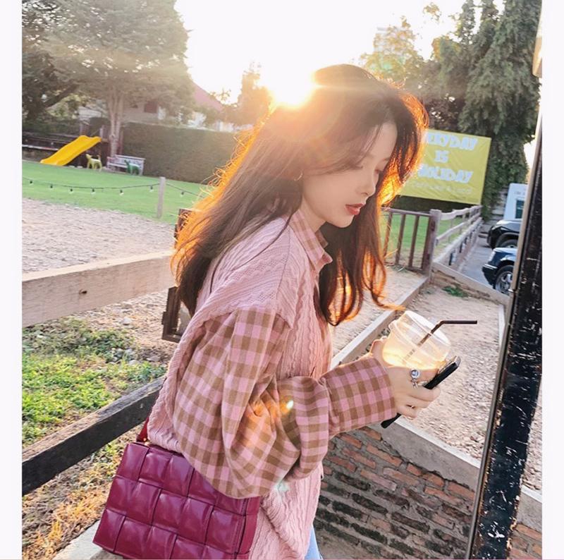 格子衬衫女2020春装新款韩版时尚少女设计感小众早春上衣盐系衬衣