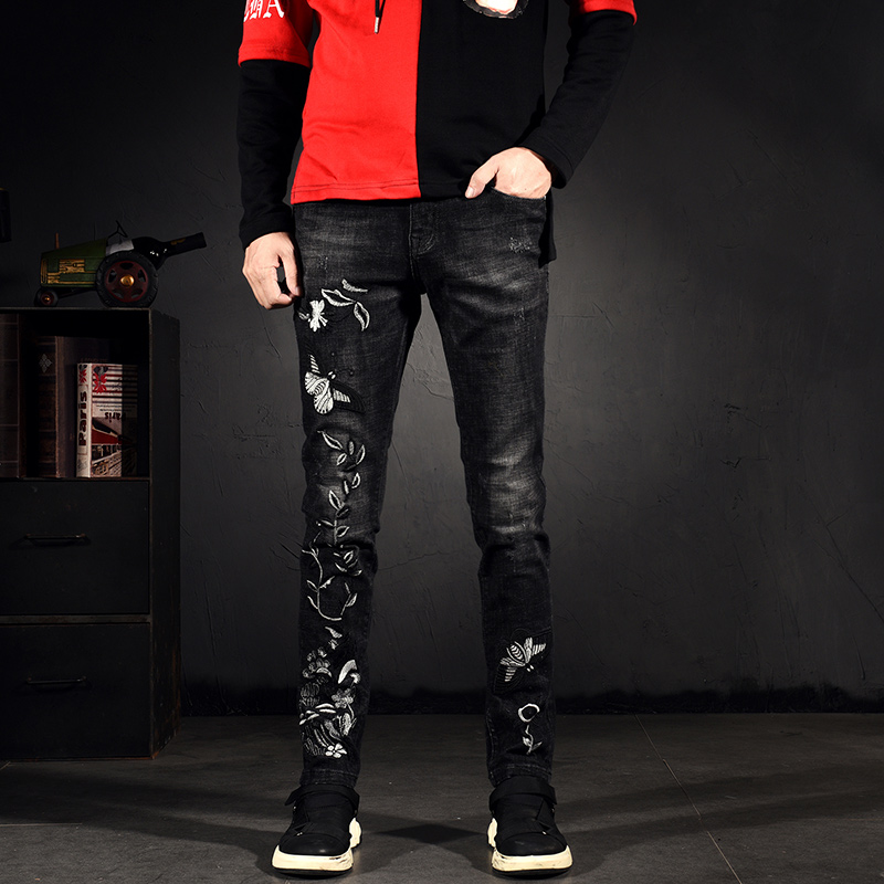 Chaoren Street original ins Guochao innovative printing embroidery underworld jeans mens trend slim legged pants