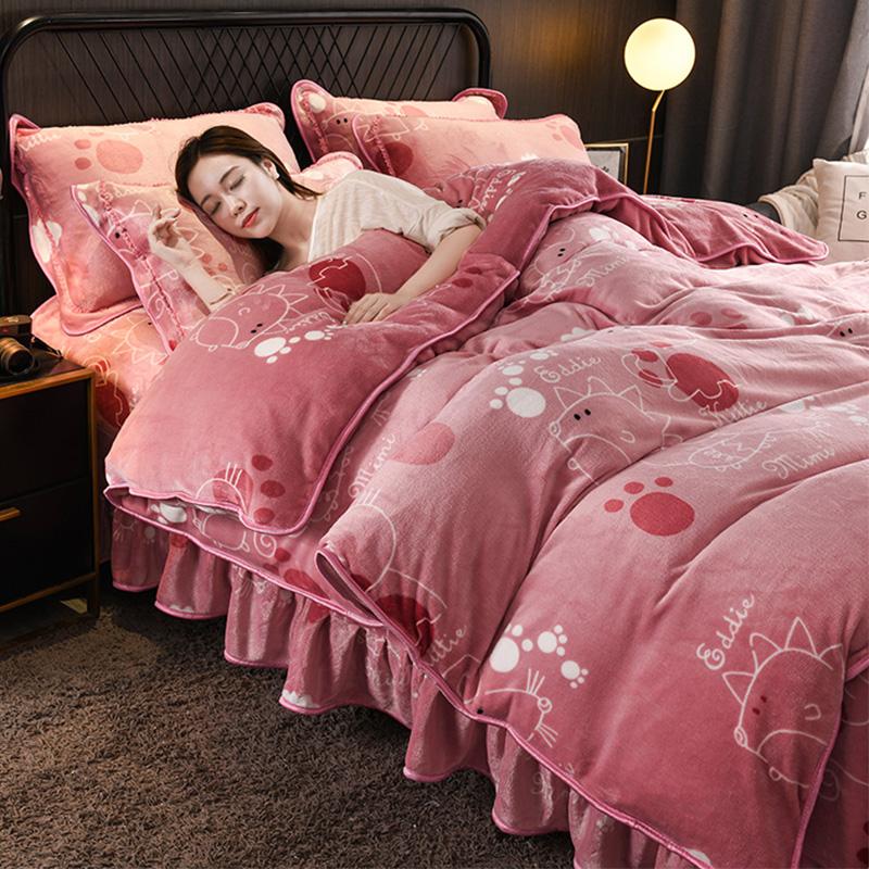 冬季珊瑚绒四件套法兰绒双面被套法莱绒加厚宝宝牛奶绒床裙水晶绒