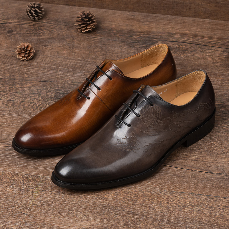 French famous brand high-end leather shoes, mens business formal dress, Oxford leather shoes, handmade top leather shoes