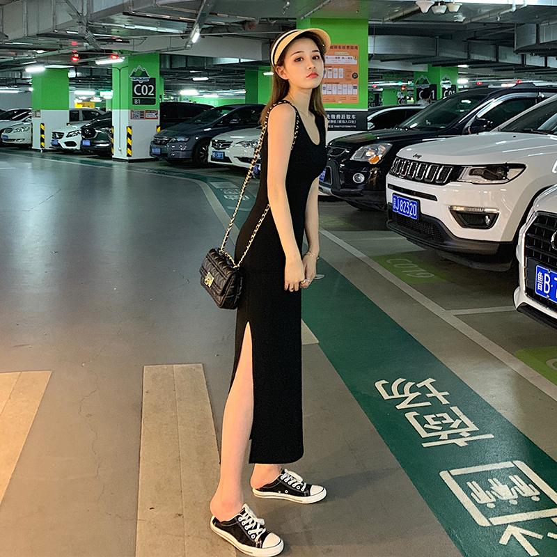 Genuine 2021 summer Korean new slim fit WAISTCOAT DRESS long sexy split suspender long skirt