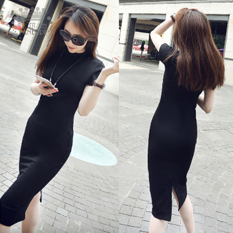 Genuine 2021 new short sleeve modal dress with split back and over the knee