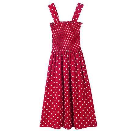 子女中长款波点一字肩红色夏吊带裙