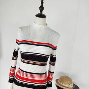 20年秋季新款清新女装中高领长袖条纹修身针织毛线衣A@M东-9-3+4