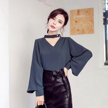 雪纺衫 优雅镂空V领2粒珍珠喇叭袖 衬衫 长袖 2019春装 女装 新款 韩版