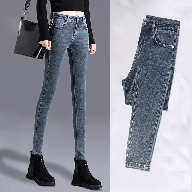 Autumn and winter Korean high waist elastic soft fabric jeans soft fabric womens grey Leggings fashion ins tight velvet