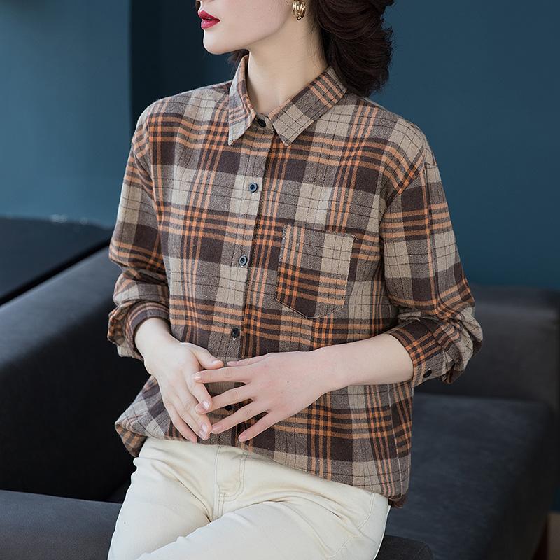2020春装女装上衣衬衫女磨毛新款格子外套大码胖妹妹宽松韩版衬衣图片