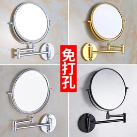 免打孔黑色伸缩镜浴室化妆镜折叠美容镜子壁挂双面镜卫生间放大镜