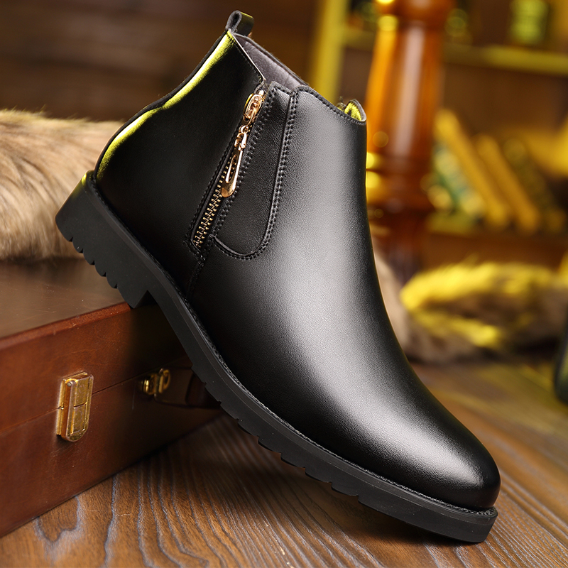 Cotton shoes mens leather casual shoes with velvet high top shoes