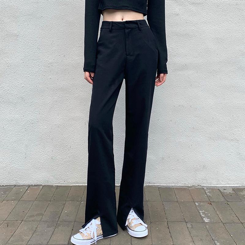 黑色开叉阔腿裤女2021春秋新款高腰垂感西装裤直筒宽松休闲拖地裤