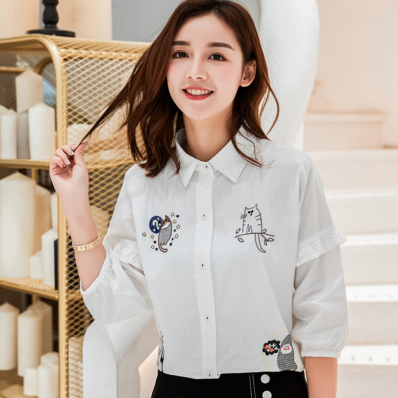 Korean lovely embroidered pure cotton slim white shirt in summer 2018