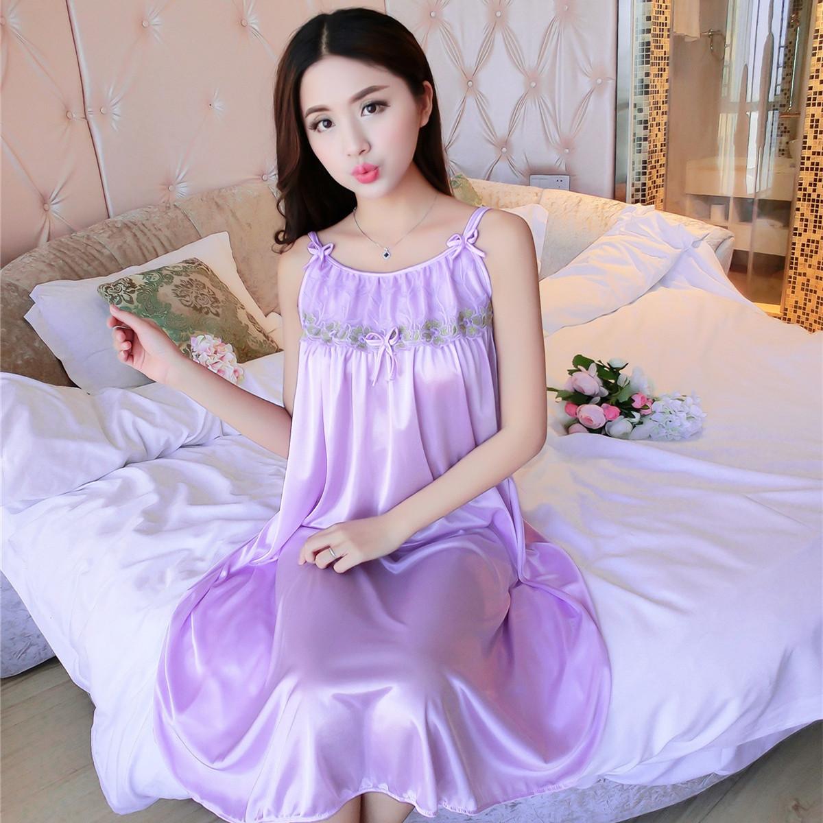 Summer Chiffon ice silk nightdress female sexy silk plus fat plus size loose mother fun lace dress female