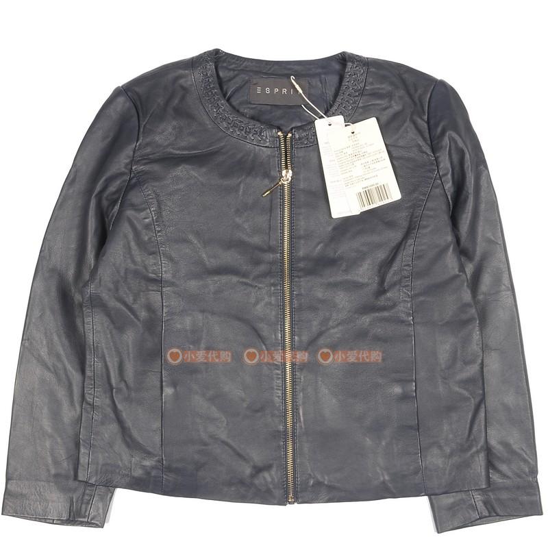 ESPRIT埃斯普利特087EO1G030女装羊皮外套时尚复古立领皮衣夹克