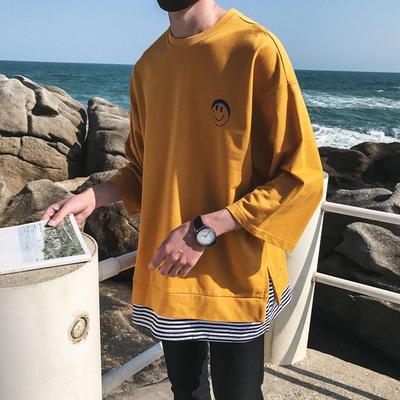 2018新主推款印花假两件七分袖T恤短袖港风日系T恤t30p40
