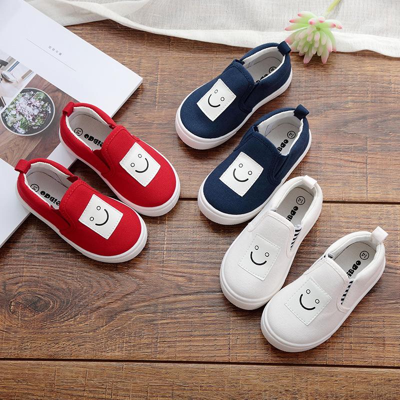 2020新型の春と秋の子供のキャンバス靴の漫画の子供の靴の男女の子供の白い靴のカジュアルシューズは郵送します。
