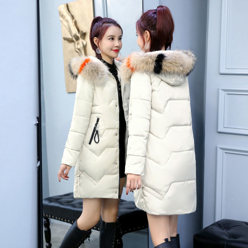 B winter new cotton padded clothes womens middle long big hair collar Korean slim fit thickened cotton padded jacket loose large size jacket fashion