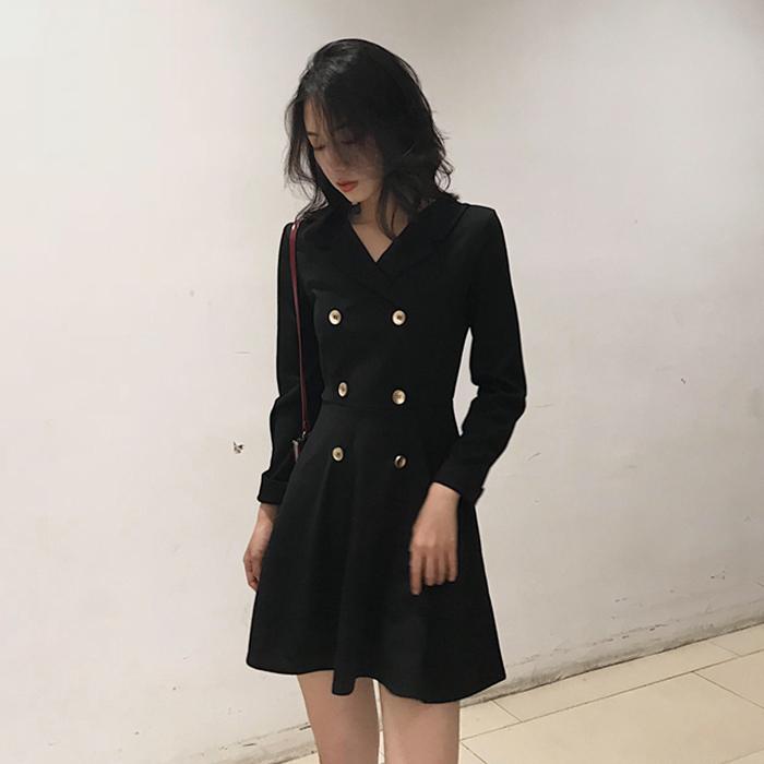 券后58.00元春气质赫本小黑裙女西装领秋连衣裙