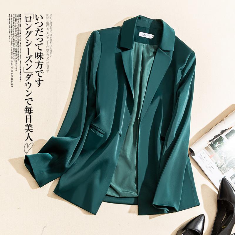 三醋酸小西装外套女2020春夏韩版同款缎面修身OL气质西服上衣长袖