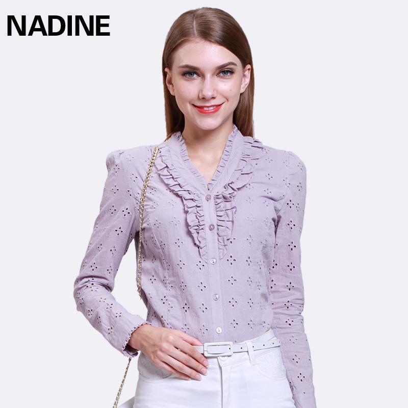 Discount cotton Bari yarn embroidered professional ol temperament fungus edge long sleeve shirt womens top
