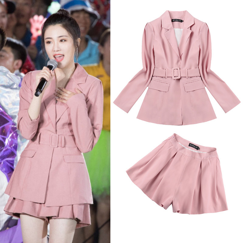 Korean autumn new medium and long small suit star same smoke pink pleated skirt and Pants Set, fashionable and versatile female