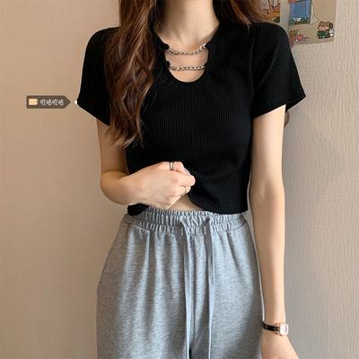 大码女装t恤女2021年新款短袖夏季胖mm设计感小众高腰甜辣风上衣
