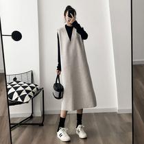 胖MM秋冬网红小香风名媛连衣裙大码遮肚子套装时髦韩版两件套女