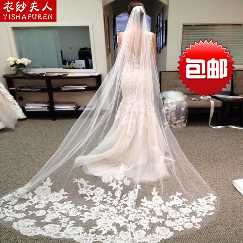 Одежда пряжа миссис новый корейский свадьба вуаль невеста ретро автомобиль кость кружево 3 супер долго продольный мазок мягкий подголовник пряжа