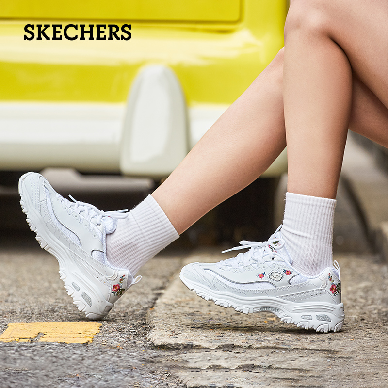 Skechers Skechers women's shoes flower embroidery panda shoes retro thick-soled sponge cake show feet little old shoes