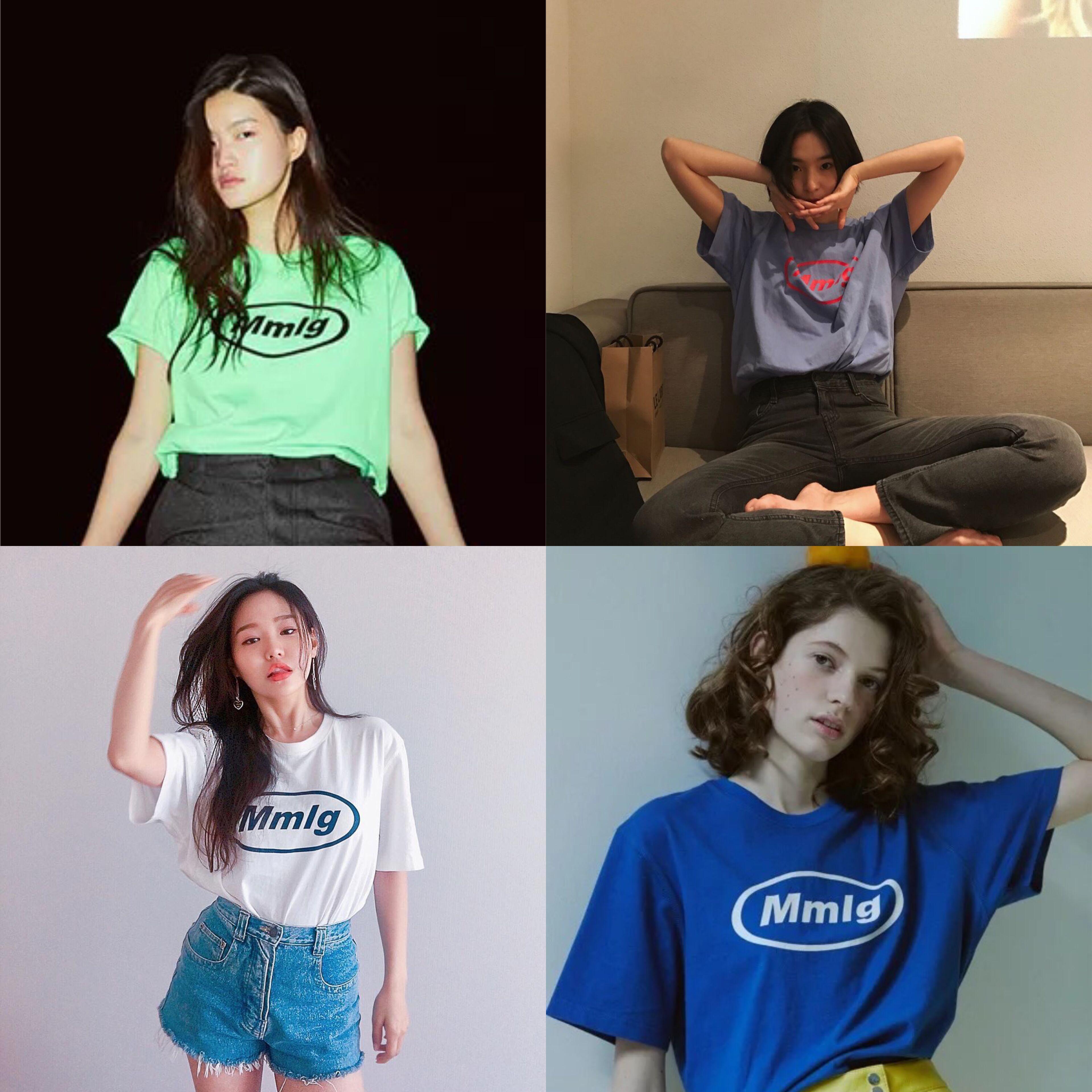 2018夏季新款韩国87MM Mmlg短袖字母印花T恤衫女圆领纯棉宽松情侣