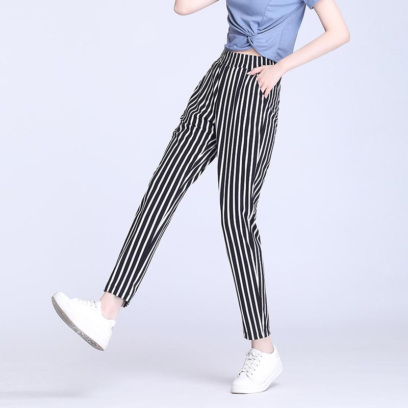 黑白竖条纹2021夏季冰丝宽松哈伦裤