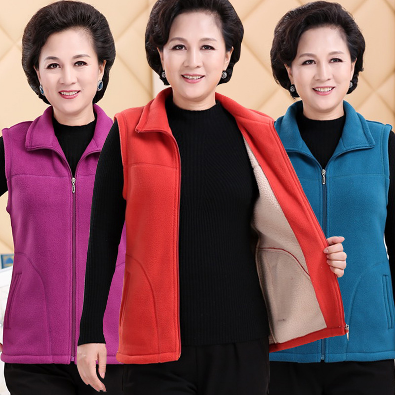 Autumn and winter clothes middle-aged and elderly womens clothes small size to velvet sweater vest more than 40 more than 50 old womens autumn suede vest