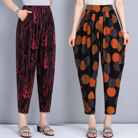 四五十岁妈妈穿夏季休闲裤女装中老年九分阔腿30薄款50几40哈伦裤