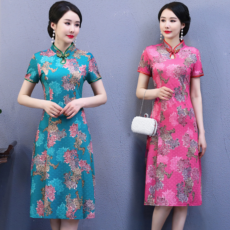 Summer dress for middle-aged and old mothers aged 40-50-60