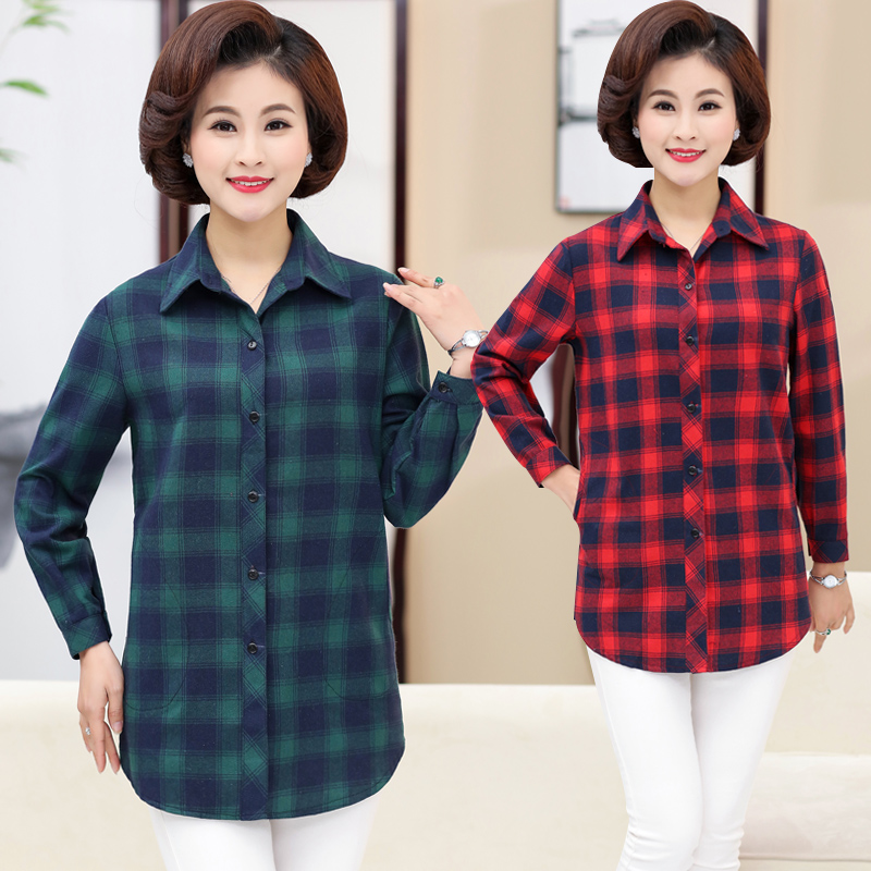 New middle-aged mothers shirt in spring 2019 womens style reverse collar top mothers inch fir clothing NV