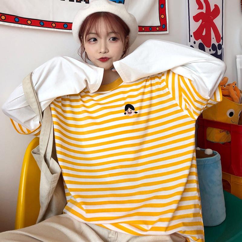36.00元包邮早秋刺绣假两件彩虹条纹女ins t恤
