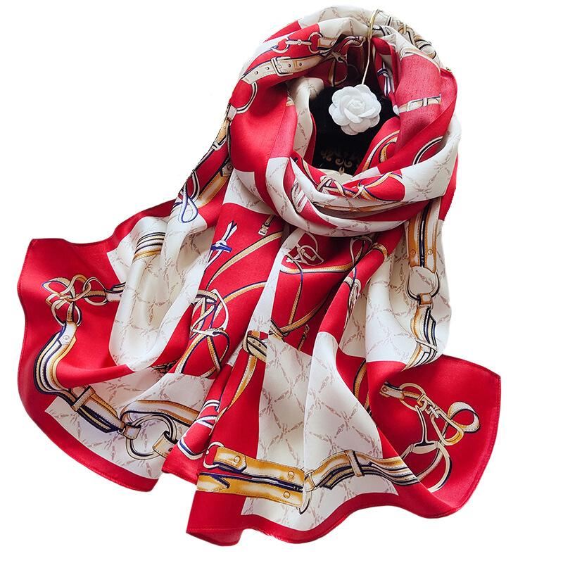 真丝丝巾女春秋薄妈妈款中年披肩百搭长款桑蚕丝围巾杭州丝绸